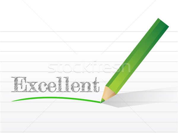 отлично написанный блокнот бумаги бизнеса карандашом Сток-фото © alexmillos