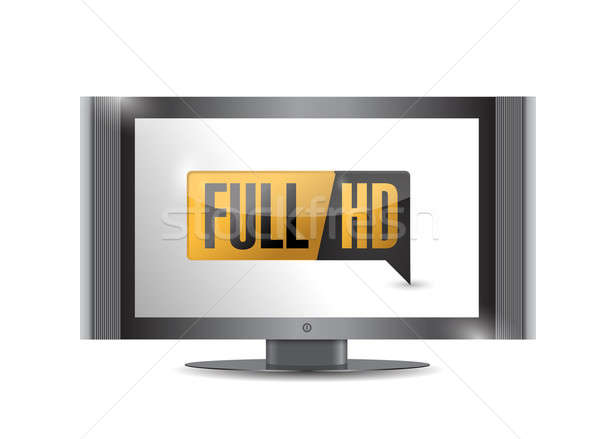 Tv with Full HD. High definition button Stock photo © alexmillos