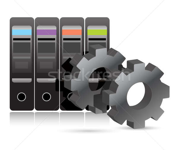 Server room with industrial gears illustration  Stock photo © alexmillos