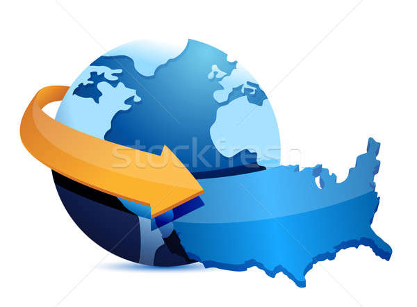 Mundo mapa tierra azul tiempo pelota Foto stock © alexmillos