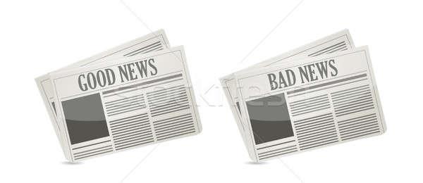 良い 悪い知らせ フロント カバー 新聞 紙 ストックフォト © alexmillos