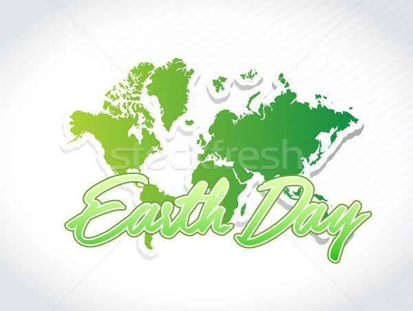 Föld napja világtérkép illusztráció terv grafikus térkép Stock fotó © alexmillos