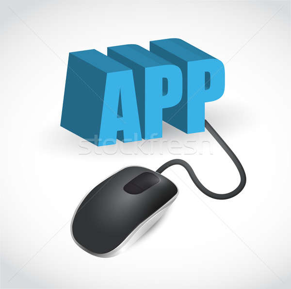 app sign and mouse illustration design Stock photo © alexmillos