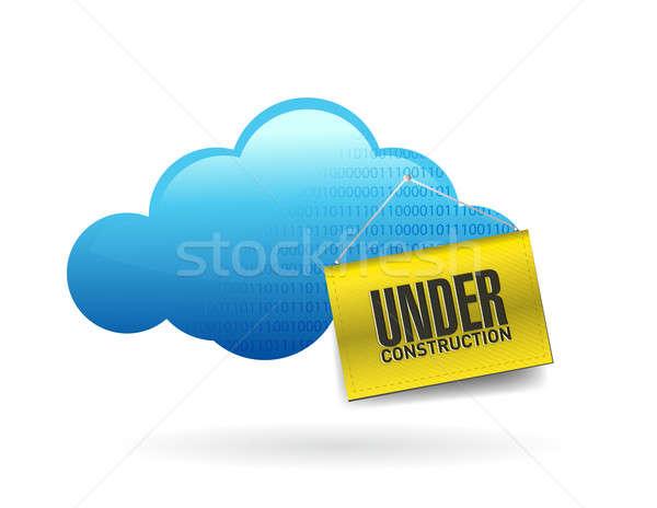 Felhő alapú technológia építkezés felirat illusztráció terv fehér Stock fotó © alexmillos