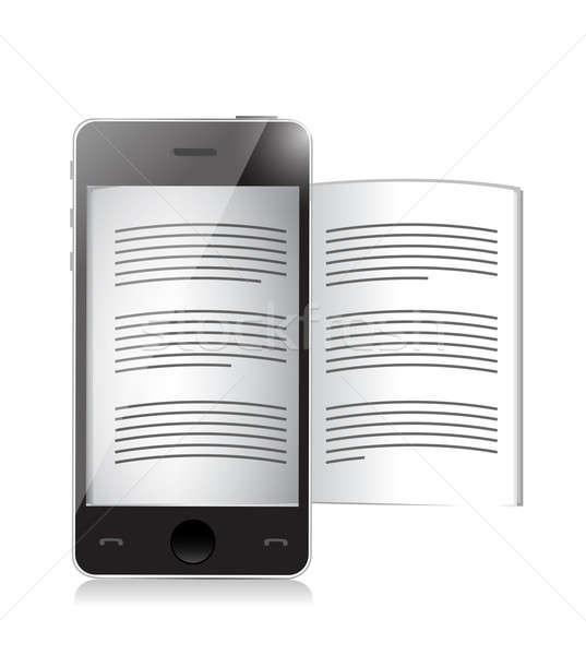 Ekönyv olvasó okostelefon illusztráció terv fehér Stock fotó © alexmillos