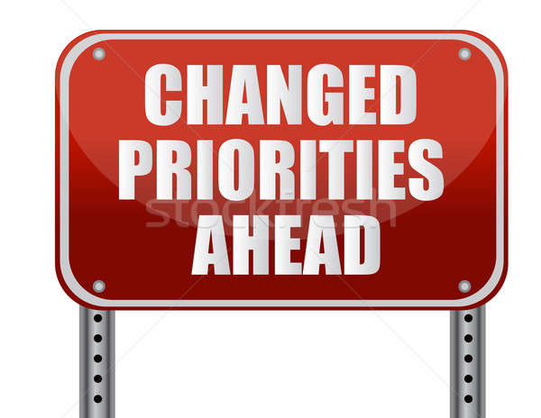 realistic metallic reflective 'changed priorities ahead' sign Stock photo © alexmillos