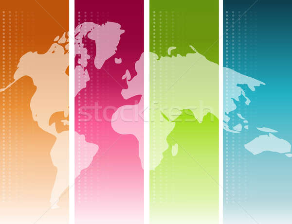 Colorful unfolded map of the world background Stock photo © alexmillos