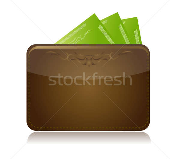 Brown leather wallet isolated over white Stock photo © alexmillos
