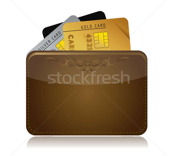 Leather wallet with credit cards inside. Stock photo © alexmillos
