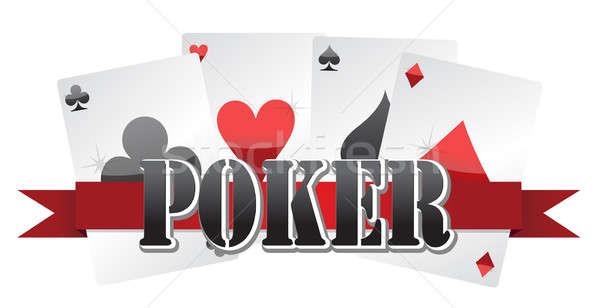 poker cards illustration design over a white background Stock photo © alexmillos