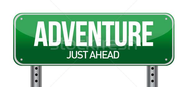 adventure road sign illustration design over a white background Stock photo © alexmillos