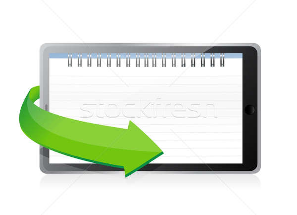 tablet with a notepad ring binder on screen illustration design Stock photo © alexmillos