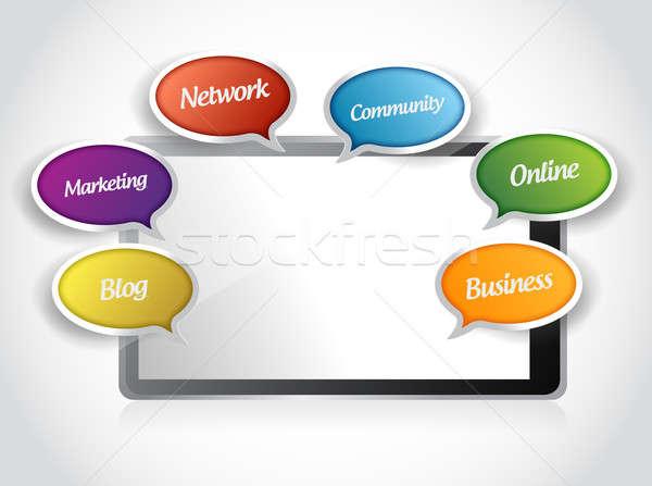 Stockfoto: Tablet · app · bericht · tools · illustratie · ontwerp