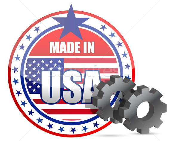 Made in USA and gears stamp illustration design Stock photo © alexmillos