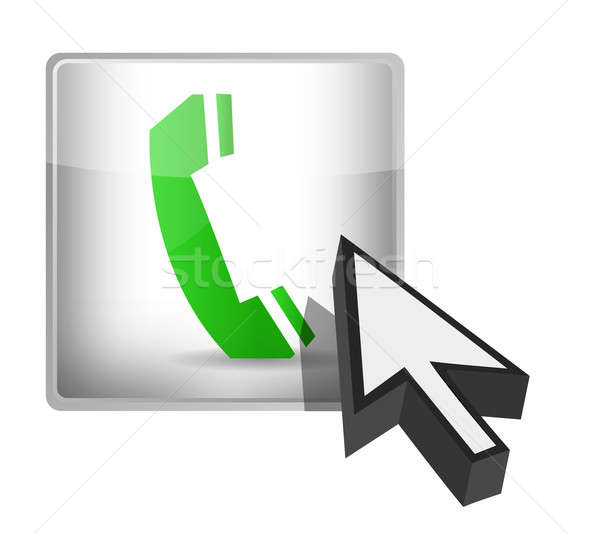Telefone botão cursor ilustração projeto branco Foto stock © alexmillos