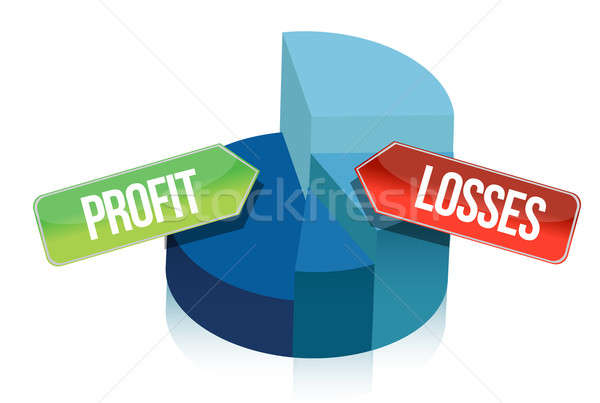 profit and losses pie chart illustration design over white Stock photo © alexmillos