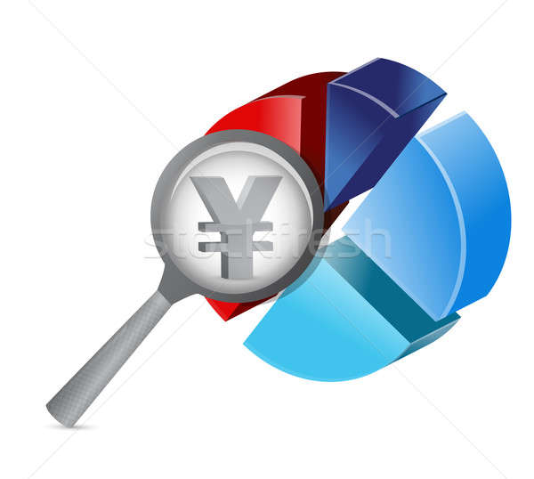 Yen magnify pie chart illustration design  Stock photo © alexmillos