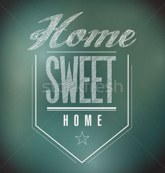 Tableau vintage home sweet home signe affiche illustration Photo stock © alexmillos