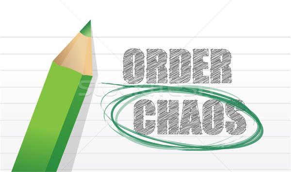 Um Chaos Stift Bleistift Management Stock foto © alexmillos
