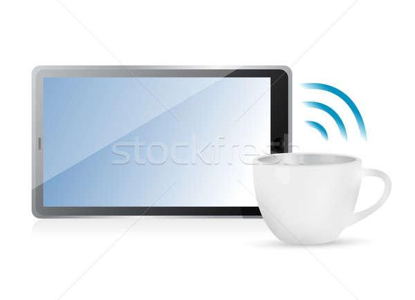 Internet kapcsolat kávésbögre számítógép terv narancs Stock fotó © alexmillos
