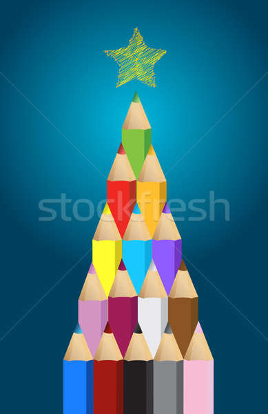 Multi colored art pencils in Christmas pine tree greeting card i Stock photo © alexmillos