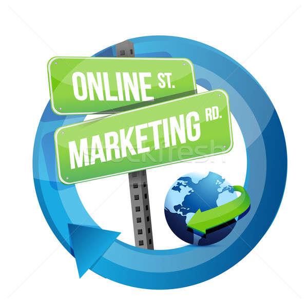 Online marketing verkeersbord wereldbol illustratie ontwerp witte Stockfoto © alexmillos