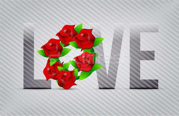 Vermelho amor flores ilustração projetos flor Foto stock © alexmillos