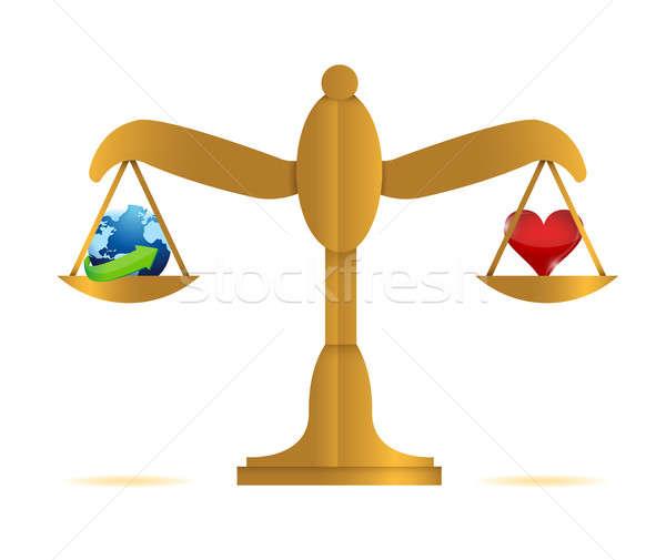 Foto stock: Equilibrio · mundo · corazón · ilustración · diseno · feliz