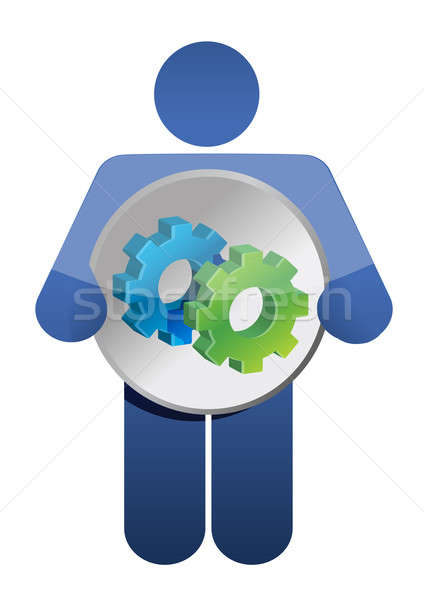 Person with gear Illustration design over a white background Stock photo © alexmillos
