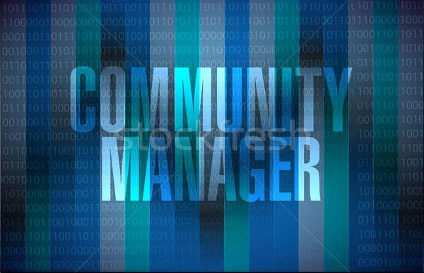 Comunidad gerente binario signo ilustración diseno Foto stock © alexmillos