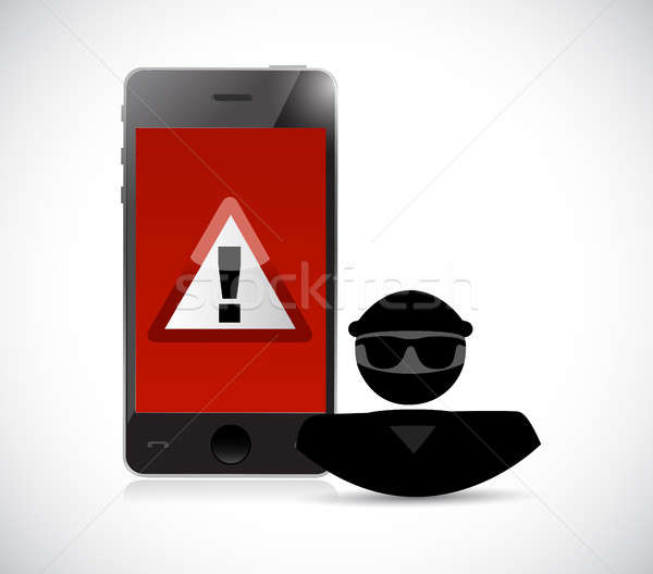 Security warning. Hacker and smart phones Stock photo © alexmillos