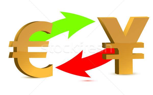 Waluta wymiany euro jen odizolowany biały Zdjęcia stock © alexmillos