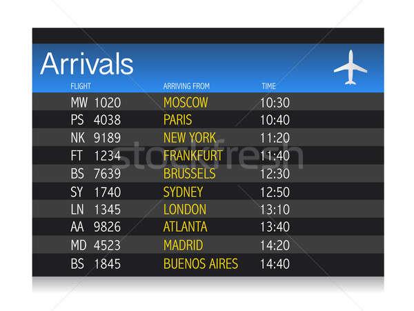 Luchthaven aankomst dienstregeling illustratie ontwerp witte Stockfoto © alexmillos