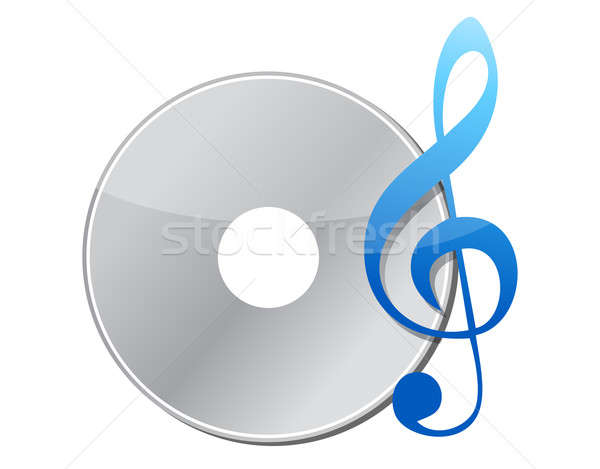 illustration of music note and cd Stock photo © alexmillos