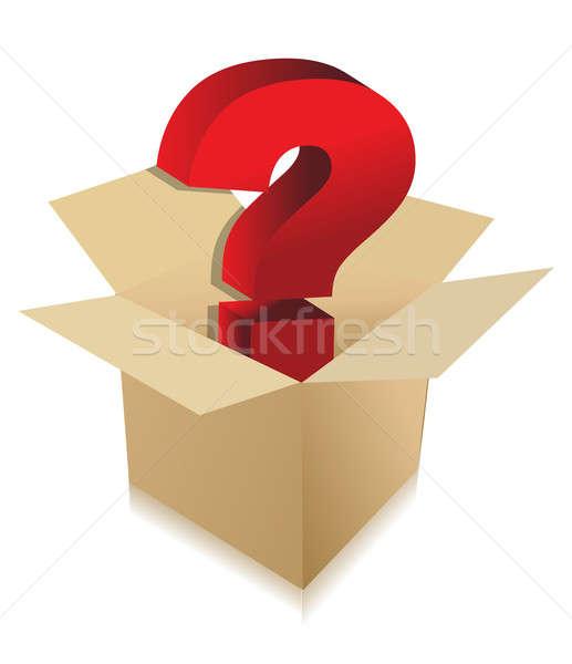 Ismeretlen doboz tartalom illusztráció terv kérdés Stock fotó © alexmillos