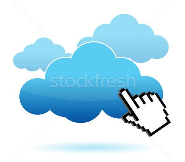 Cursor icon hand clicking on a cloud illustration design Stock photo © alexmillos