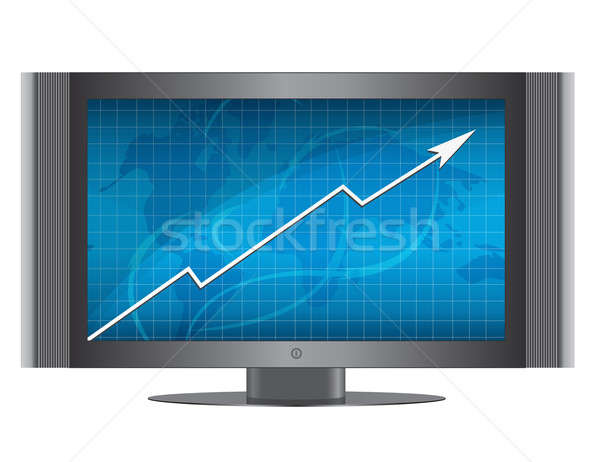 Business groei grafiek monitor computer bar Stockfoto © alexmillos