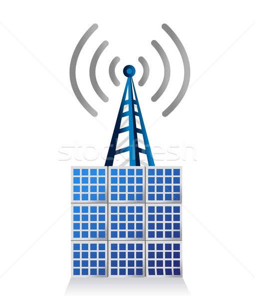 Wi-fi башни иллюстрация дизайна белый Сток-фото © alexmillos