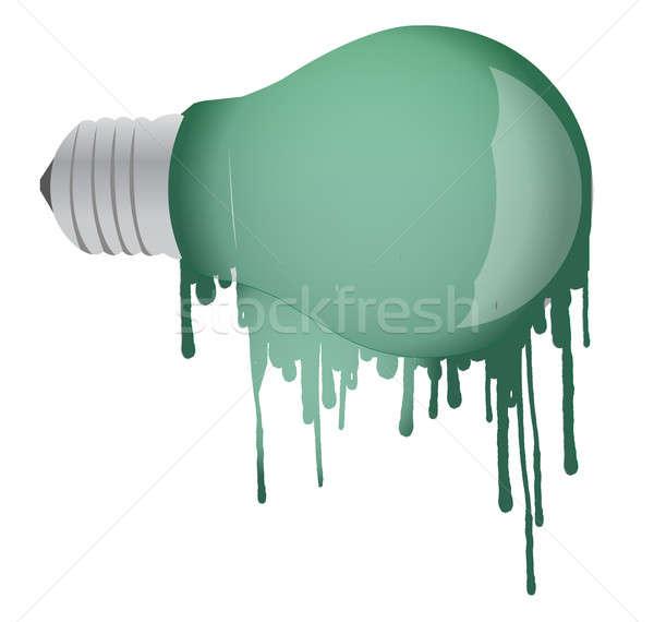 ink dropping lightbulb illustration design over white background Stock photo © alexmillos