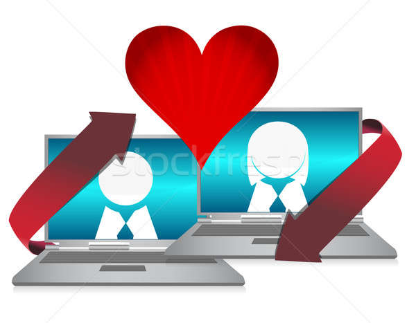 Online dating illustration concept over white Stock photo © alexmillos