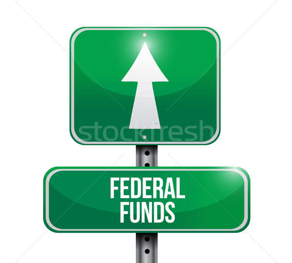 federal funds road sign illustration design over white Stock photo © alexmillos