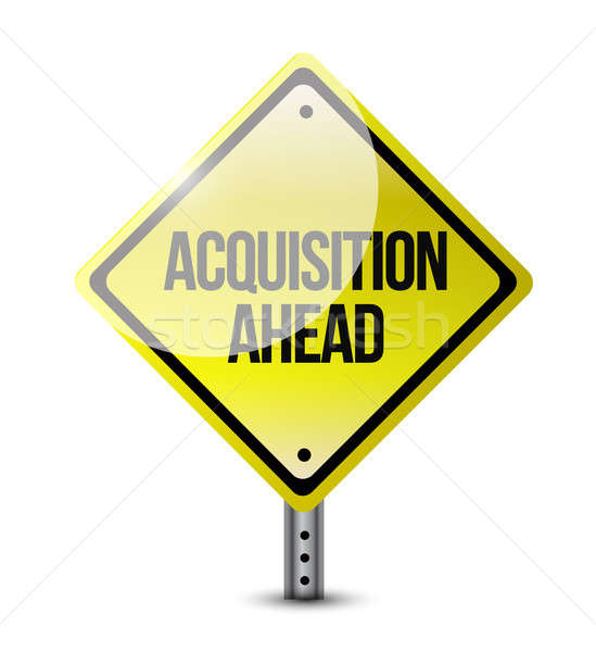 Stock photo: acquisition ahead road sign illustration design over a white bac