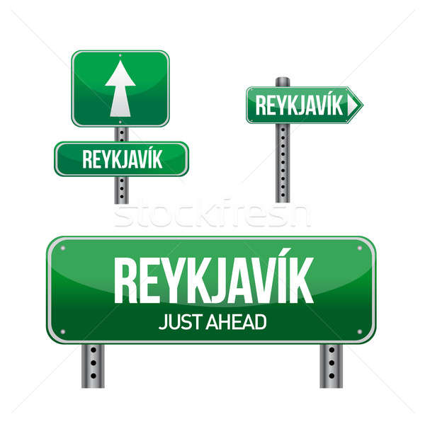 reykjavik city road sign illustration design over white Stock photo © alexmillos