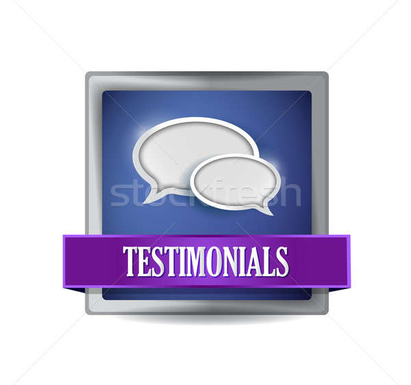Testimonials glossy blue reflected square button illustration de Stock photo © alexmillos