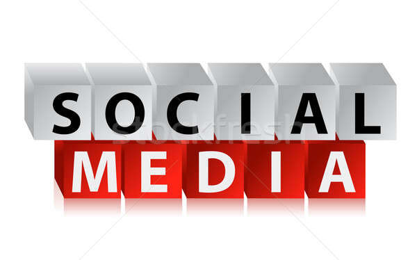 cubes with text - social media, illustration design over white Stock photo © alexmillos