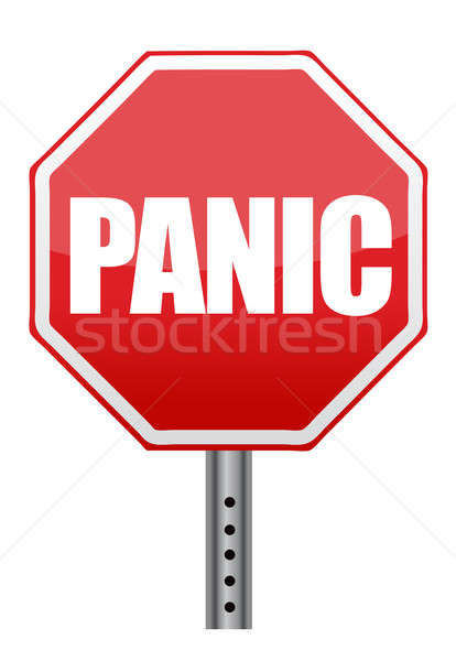 panic stop sign illustration design over white background Stock photo © alexmillos