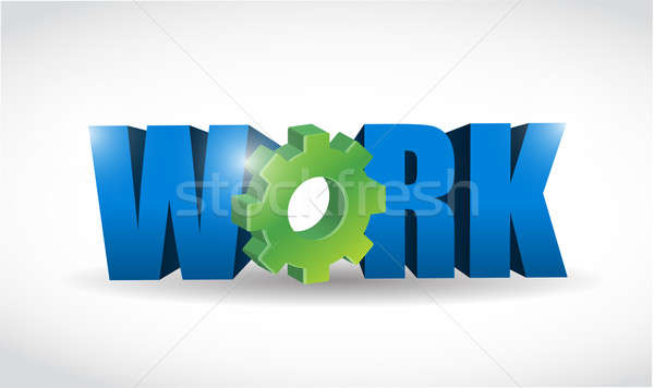 work 3d text illustration design over a white background Stock photo © alexmillos