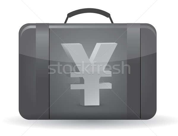 Yen valuta szimbólum bőrönd illusztráció terv Stock fotó © alexmillos