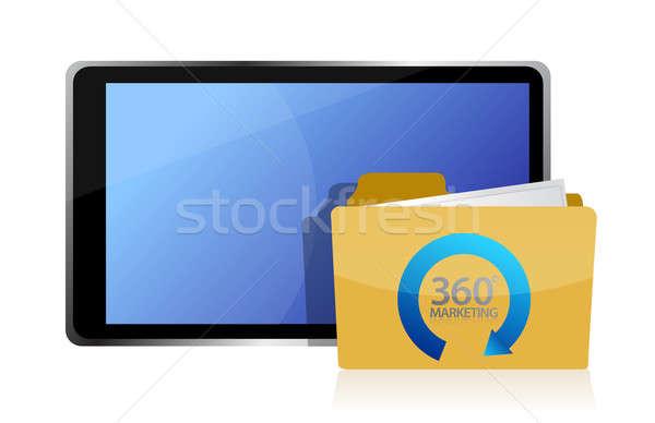 Comercialización tableta ilustración diseno blanco éxito Foto stock © alexmillos