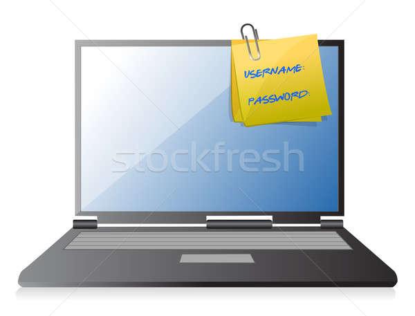 Kullanıcı adı parola dizüstü bilgisayar örnek dizayn kâğıt Stok fotoğraf © alexmillos